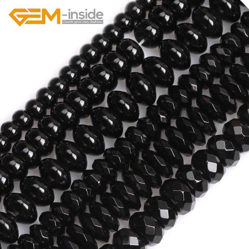 Natürliche Schwarz Onyx Achate Rondelle Spacer Perlen Für Schmuck Machen Beads15 Zoll Großhandel! Kostenloser Versand EDELSTEIN-innen