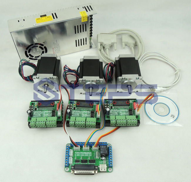 цена на CNC 3 axis controller kit, Nema23 76mm 3A stepper motor + CNC 3 Axis TB6560 Stepper Motor Driver +250W Power supply
