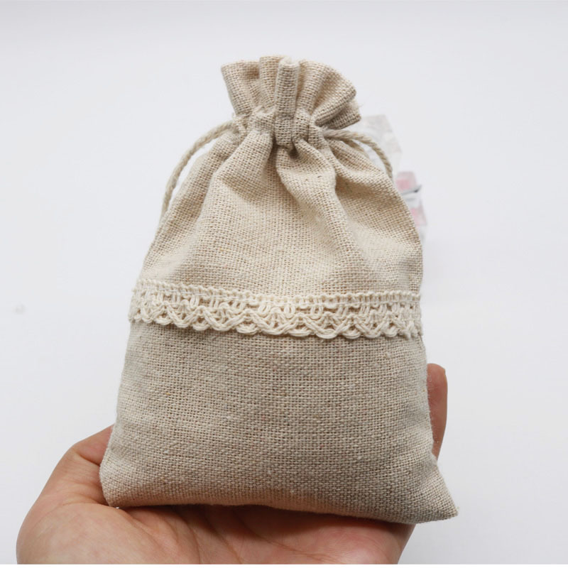5pcs/lot Natural Cotton Bags 9.5x13 12x17.5cm Drawstring Gift Bag Muslin Pouch Cosmetics Boutique Candy Jewelry Packaging Bags