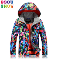 GSOU SNOW Girls Boys Ski Jacket Children Snowboarding Jacket Colorful Waterproof Breathable Skiing Suit Kids Warm Snow Coats