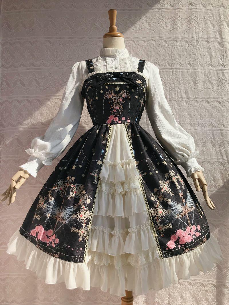 Sweet Cross & Flower Printed Sleeveless Lolita JSK Dress Plus Size Fairy Party Gown by Yiliya ~ Pre-order