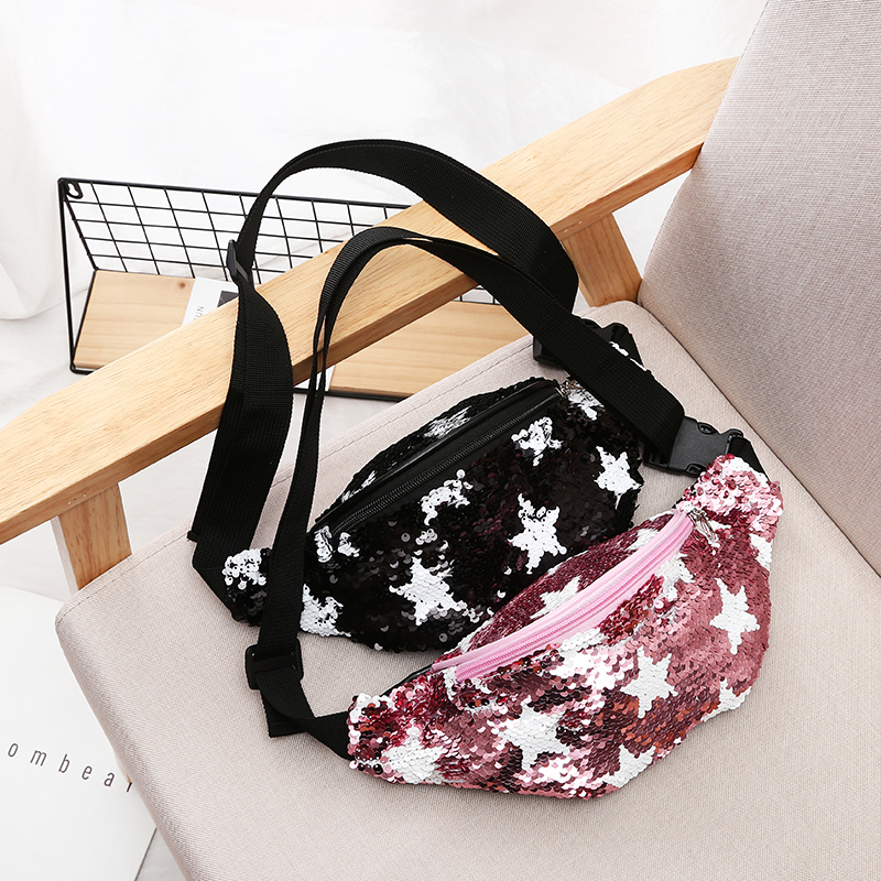Unisex Waist Bag Star Printing Sequin Women Men Travel Fanny Pack Small Belt Bag Casual Sequins Waist Packs Coin Purse