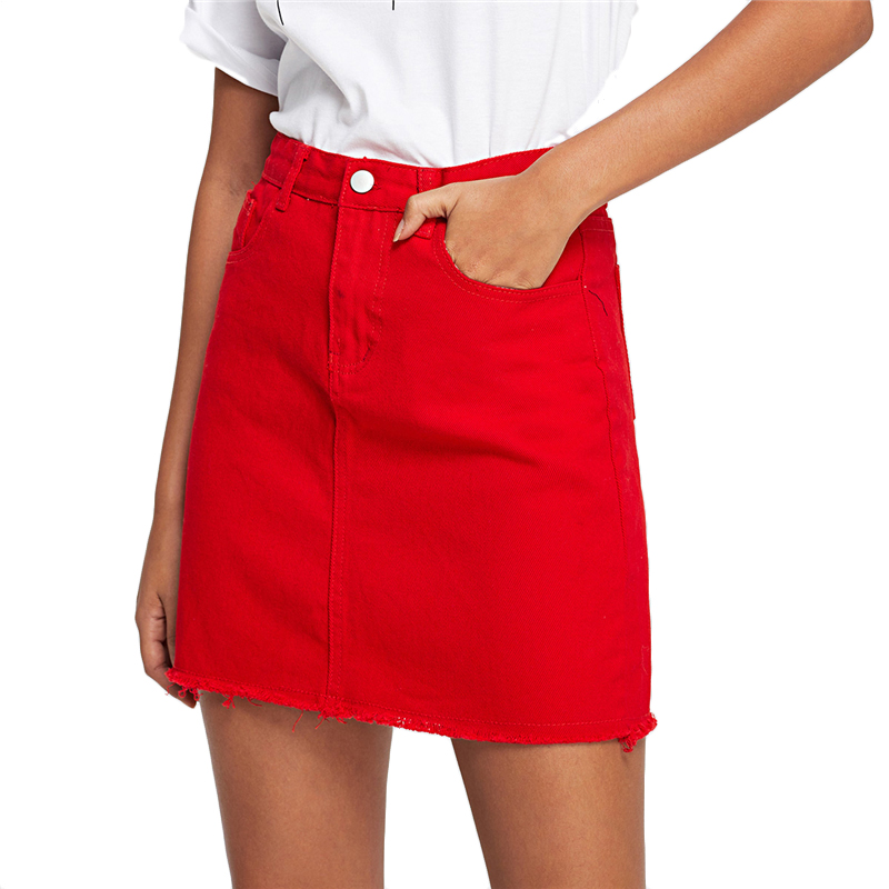 COLROVIE Frayed Hem Pockets Denim Skirt Spring Red Ripped Mid Waist Girly Casual Mini Skirt Summer A Line Basic Women Skirt 15