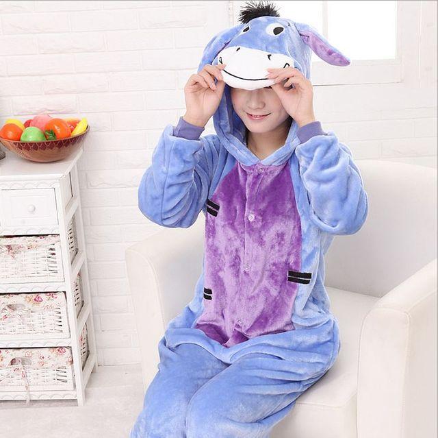 Pijamas Para As Mulheres Pijama De Unicornio Burro das Mulheres Completo Manga Com Capuz Poliéster Pijama Conjuntos Pijamas Mujer Mulheres Pijama