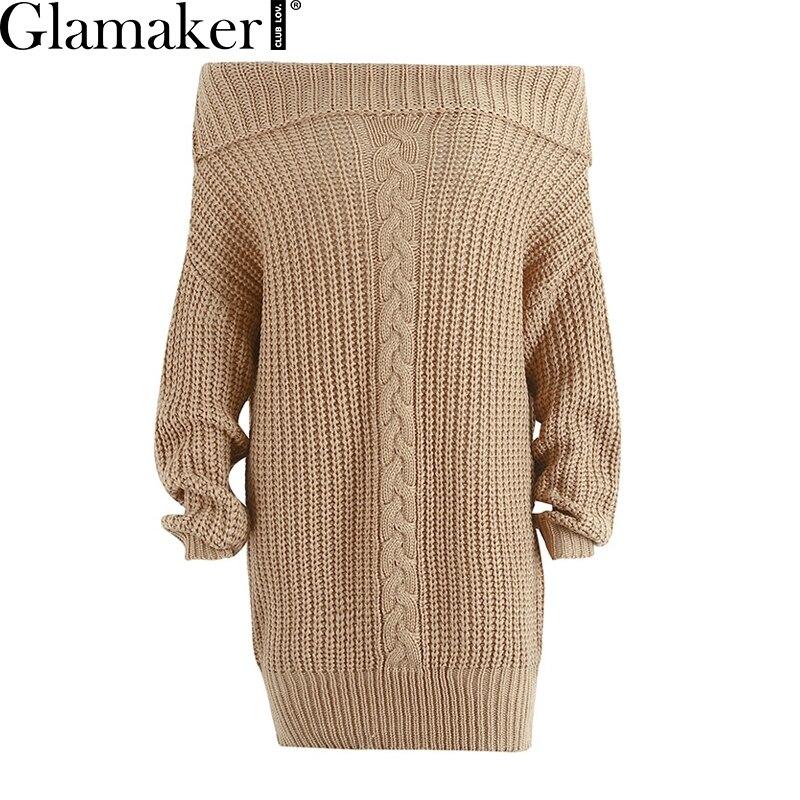 Glamaker Off shoulder knitted sweater dress women Knitting oversized short dress 2018 Spring tricot jumper pullover