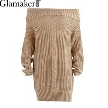 Glamaker с открытыми плечами вязаный свитер платье женщины Вязание негабаритных короткое платье 2018 Весна Трикотажная Джемпер Пуловер женский