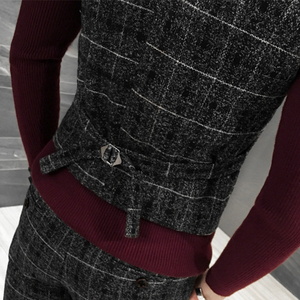 Image 4 - Jakość grube nowe mężczyźni kamizelka zimowa wełniana moda kamizelka w kratę mężczyźni formalne strój kamizelka Slim Fit kamizelka kamizelka Plus rozmiar Colete