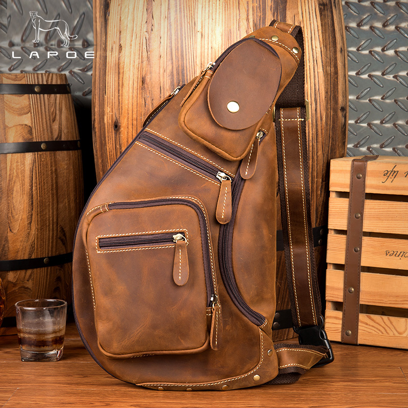 купить LAPOE Man bag crazy horse leather shoulder Bag vintage genuine cowhide leather men messenger bags business crossbody male bags по цене 7245.81 рублей