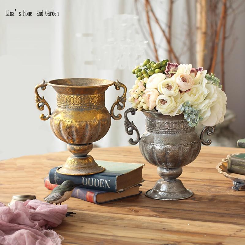 Handmade Antique Vintage Retro Metal Craft Decorative Vases