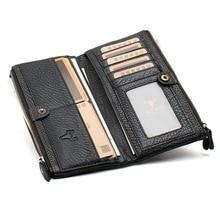Men Genuine Leather Long Zipper Wallet Business Card Holder Pocket Handbag 2016 New