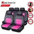(Side Airbag Compatiable) Red Blue PU Leather Car Seat Covers Universal Car Covers Interior Cute Pink Car Seat Covers for Toyota