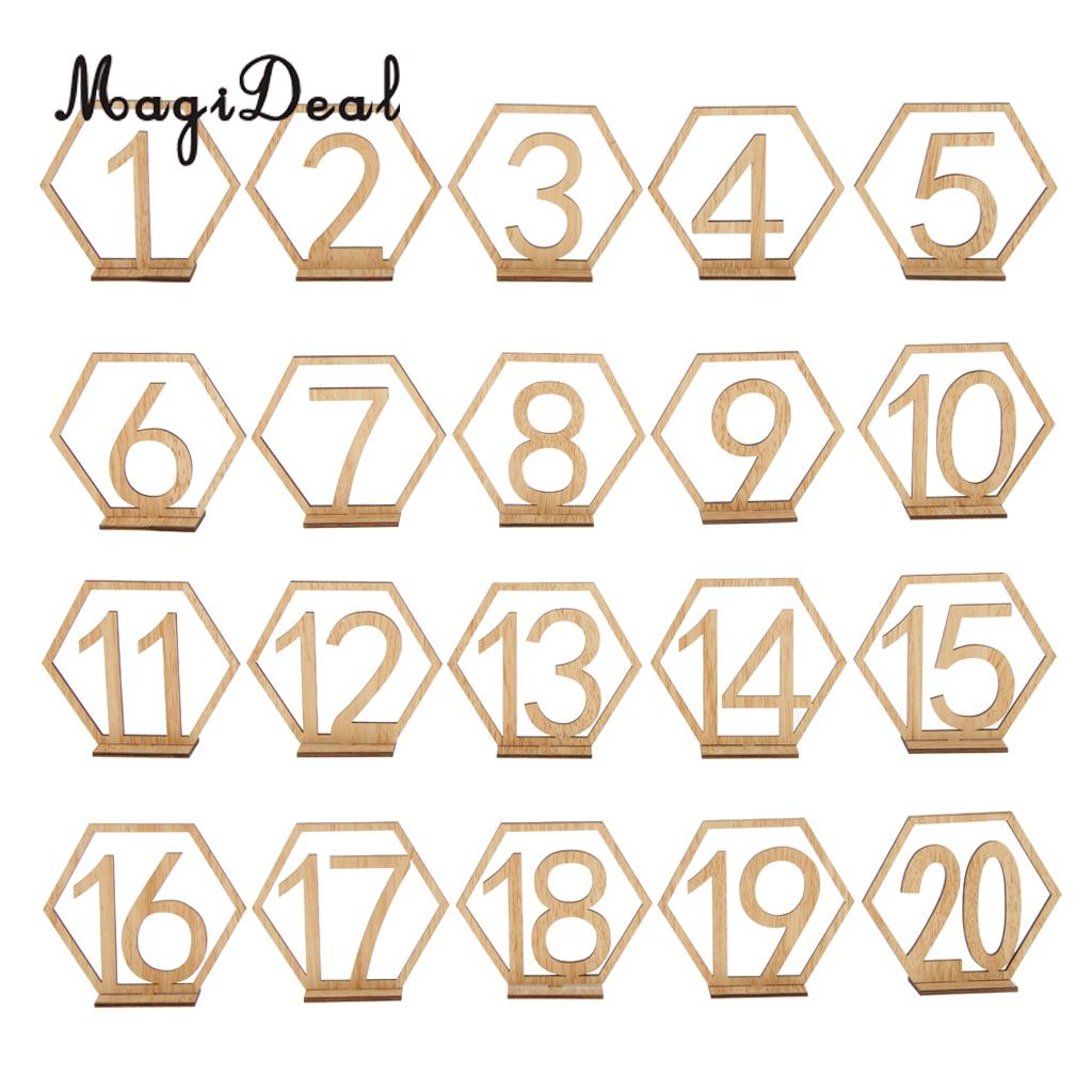 MagiDeal Wooden Freestanding 1-20 Table Number Sign Stand Wedding Table Decoration
