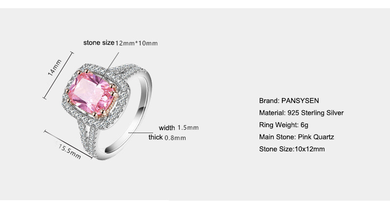 HTB1aPPuPQvoK1RjSZFwq6AiCFXa5 PANSYSEN 100% Solid 925 Silver Jewelry Rings For Women 10x12mm Pink Spinel Diamond Fine Jewelry Bridal Wedding Engagement Ring