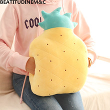 Soft Pineapple Warm Hand Pillow, Feather Cotton Cute Fruit Cover,Plush Doll,Cushions Strawberry Hand,Treasure
