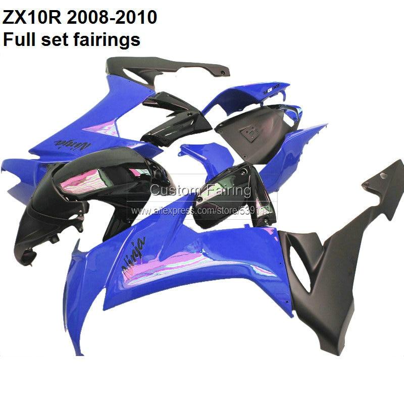 Motocycle Body Kits For Kawasaki Ninja ZX10R 2008 2009 2010 dark blue & black fairing kit fairings No.038