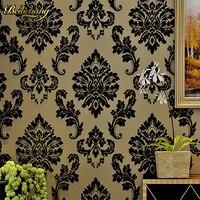 Black Damask Wall Paper Flocking Velvet Wallpaper Europe Luxury 3D Living Room Bedroom Wall Decor Papeis