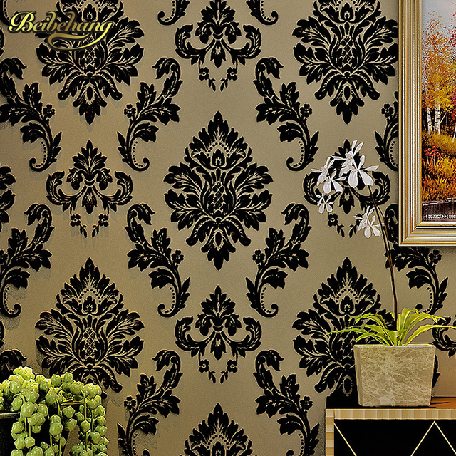 Beibehang Black Damask Wall Paper Flocking Velvet Wallpaper Europe Luxury 3D Living Room Bedroom Decor