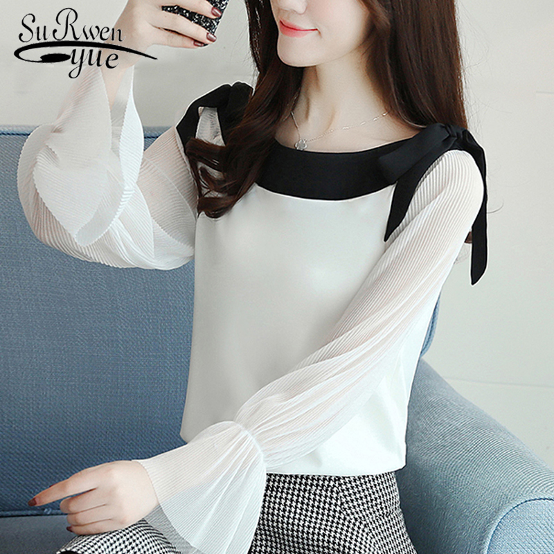 fashion slash neck white blouse long sleeve women shirt chiffon blouse shirt womens tops and blouses blusas femininas 1596 50 1