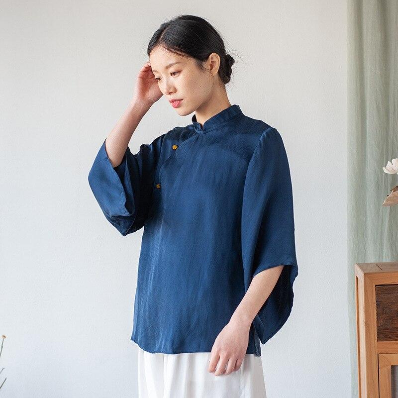 Original Chinese Style Retro Stand Collar Loose Wild Slung Wide sleeved Tea Service Copper Ammonia Silk