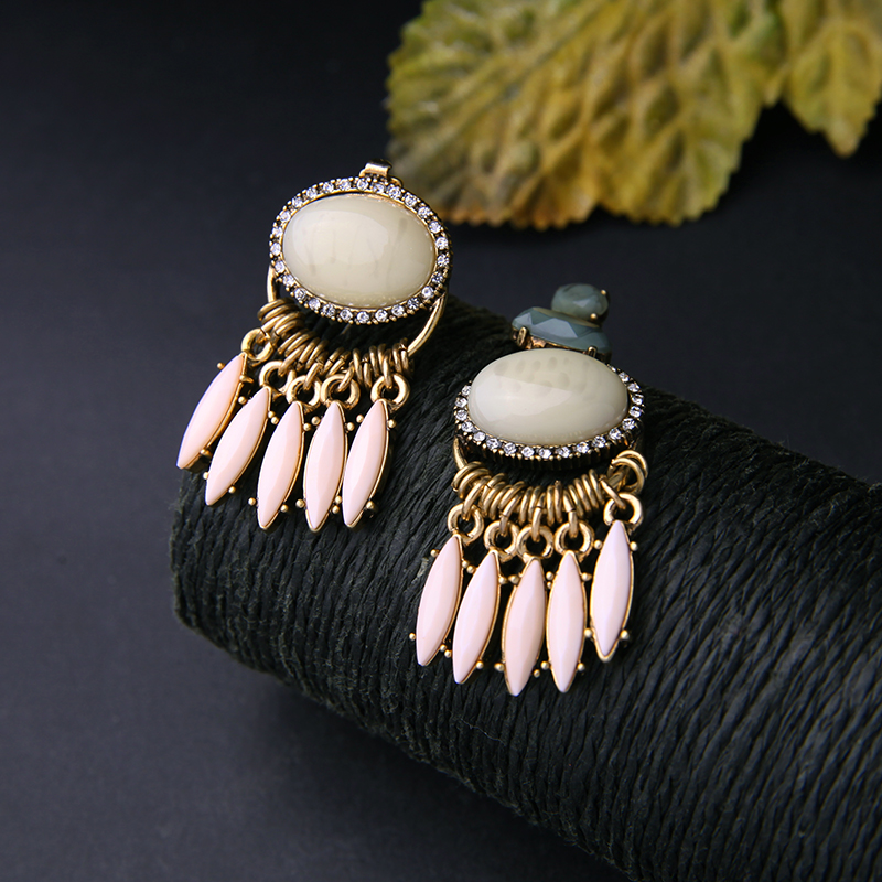 JOOLIM Jewelry Wholesale Pink Stone Dangle Earring Stylish Statement Earring Daily Earring Christmas Gift Free Shipping in Drop Earrings from Jewelry Accessories