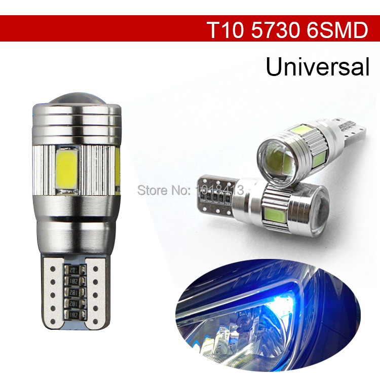 Car Auto LED T10 194 W5W Canbus 6 SMD 5630 5730 LED Light Bulb No error led parking Fog light Auto No Error univera car light new t10 6 smd 5050 194 w5w 501 led car light colourful led canbus error interior light bulb remote control dc 12v