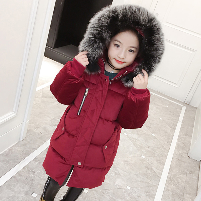 Girls cotton new winter warm children long thick padded jacket 2015 new women s winter coat thick padded hoodie lapel long parkas warm abrigos mujer korean female jacket navy blue