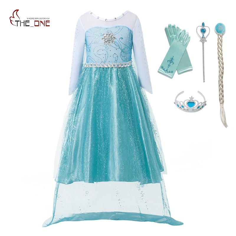 MUABABY Elsa Dress Little Girl Princess Party Cosplay Costume Children Snow Queen Long Sleeve Glitter Dress With Cape 3-10 Years free shipping 7 85 flat screen handwriting external screen f wgj78058 v1 touchscreen external screen capacitive screen