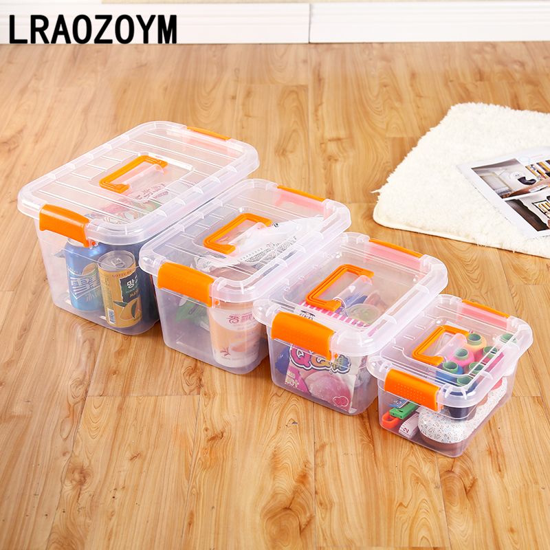 LRAOZOYM Portable Thick Transparent Storage Box PP Lid Toy Clothes Finishing For Office Organizer Bathroom Living Room LR132