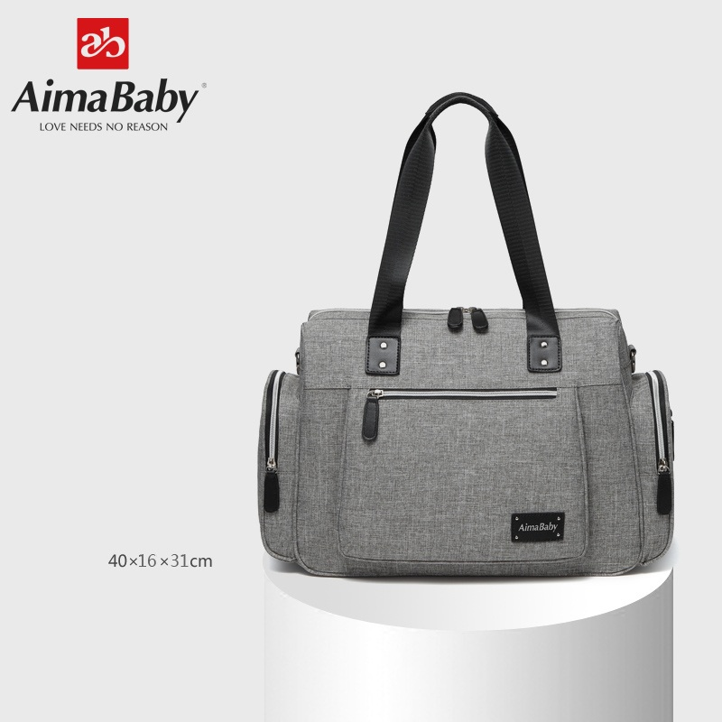 AIMABABY Large Multi-function Unisex Messenger Baby Diaper Bag Nappy Changing Bag+Changing Pad