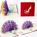 3D Pop Up Cartão de Aniversário Forma De Pavão Convites de Aniversário Graças Dobrável Artesanal Novo