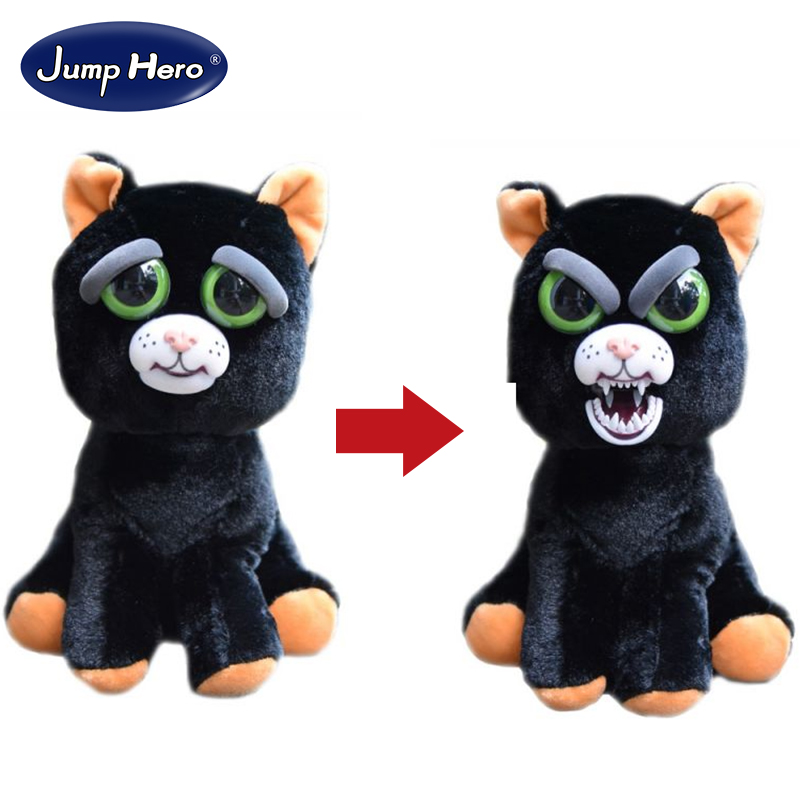 William Mark Change Face Feisty Pet Black Cat Funny Expression Stuffed Animal Doll For Kids Cute Christmas Free Shipping free shipping plush tongue funny cat cat expression a birthday present love cats the gifts of men and women