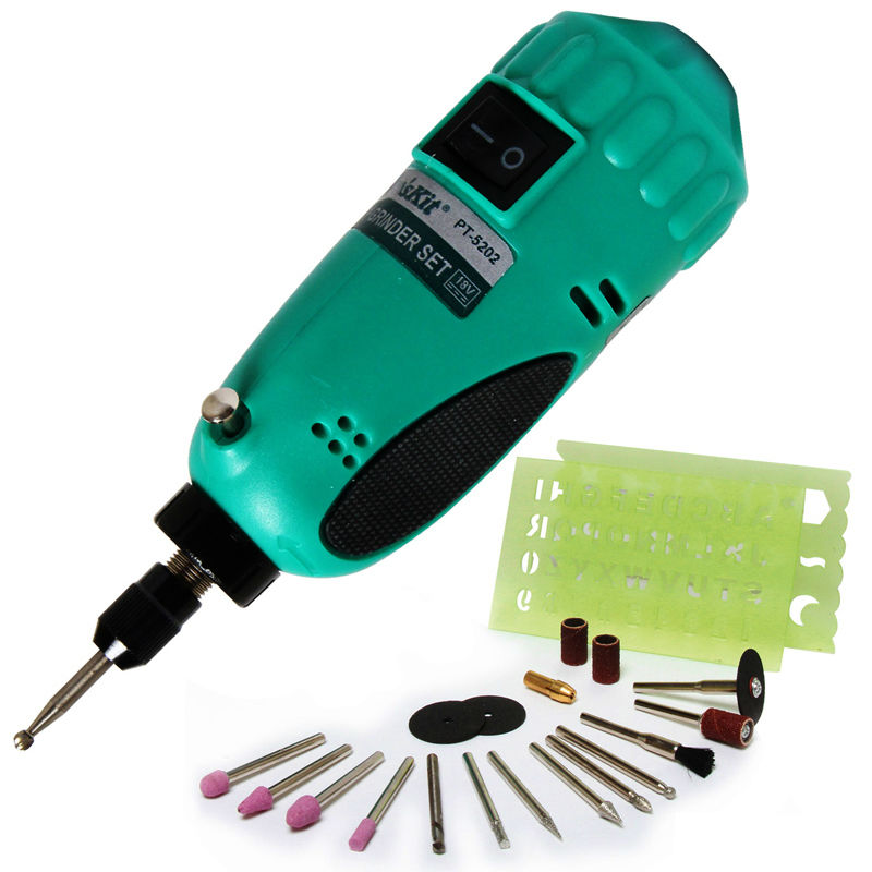 PT-5202F 19pcs Drill Grinding Set Mini Electric Grinder Set For Drilling Grinding Polishing Engraving Cutting Efface 1pc white or green polishing paste wax polishing compounds for high lustre finishing on steels hard metals durale quality