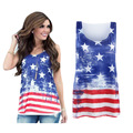 2016 Women Summer Tshirt USA American Flag Print T-shirt Sleeveless Casual Fashion Shirt Women Female Tops Plus Size