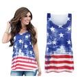 2016 Women Summer Tshirt USA American Flag Print T-shirt Sleeveless Casual Fashion Shirt Women Female Tops Plus Size
