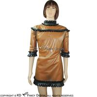 Прозрачный коричневый с черным присборенная ткань сексуальный латекс пижамы резиновая платье Ночная рубашка LYQ 0034