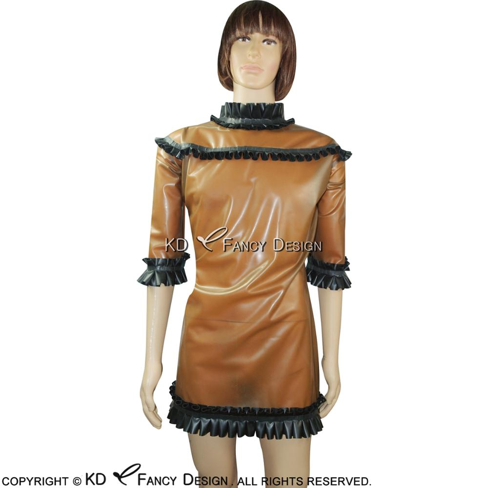 Transparent Brown With Black Frills Sexy Latex Pajamas Rubber Dress Nightgown LYQ 0034