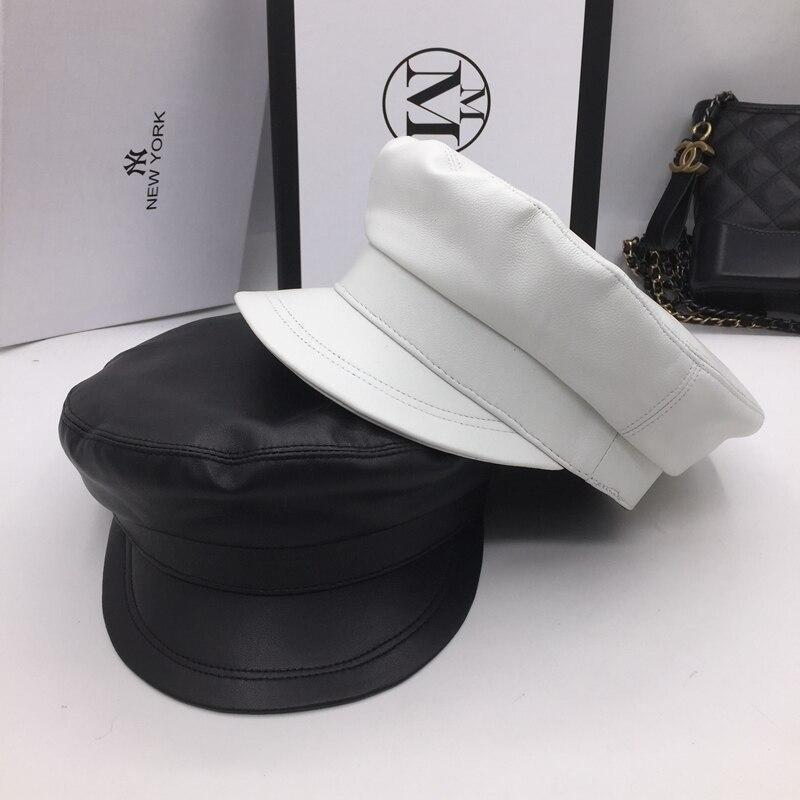 Натуральная кожа овцы темно-синий ветер большой замши высокого качества Кепка шляпа черный и белый пары Джокер newsboy кепки козырьки