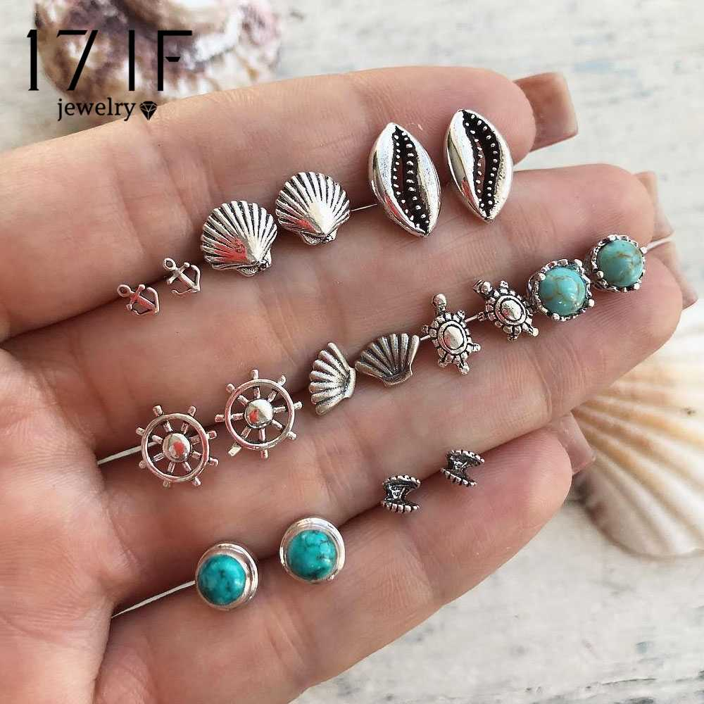 17IF Boho Shell Turtle Anchor Small Stud Earrings Set For Women Punk Mix Design Geometric Stone Animal Ear Aros Jewelry Gift