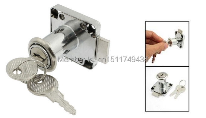 36mm Height Funiture Fitting Square Plate Glass Door Lock Silver Tone w Keys(China)