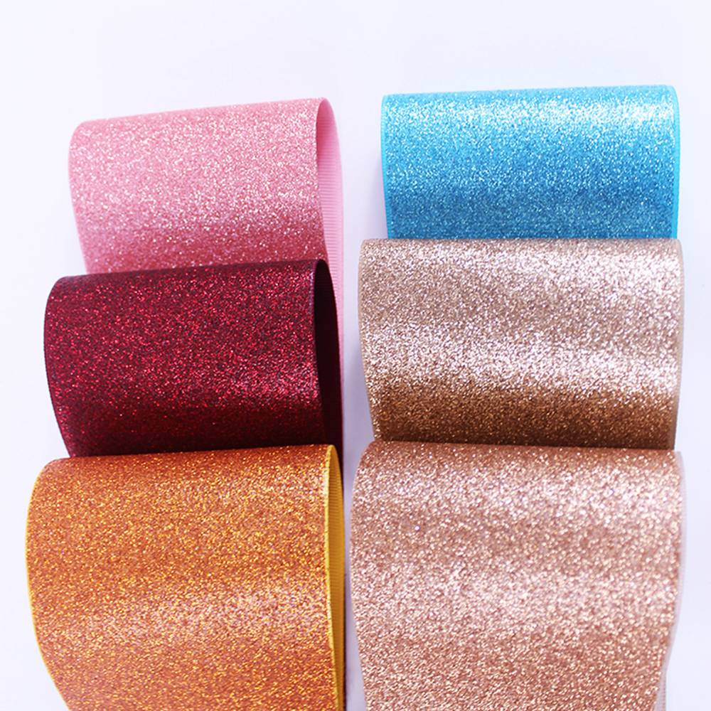 19 colors Popular glitter Printed Grosgrain Ribbon for bows 375mm sparkle solid Glitter ribbon Rainbow 10y/lot