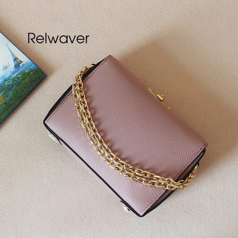 Relwaver genuine leather shoulder bag small pink women handbag fashion stylish box shape cow leather crossbody bags for women цена