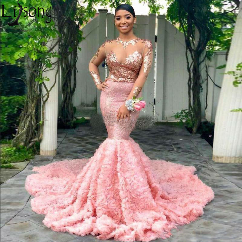 2019 Pink Mermaid   Prom     Dresses   Sheer Top With Appliques Evening Gowns Illusion Long Sleeves Rose Ruched Sweep Train Formal   Dress