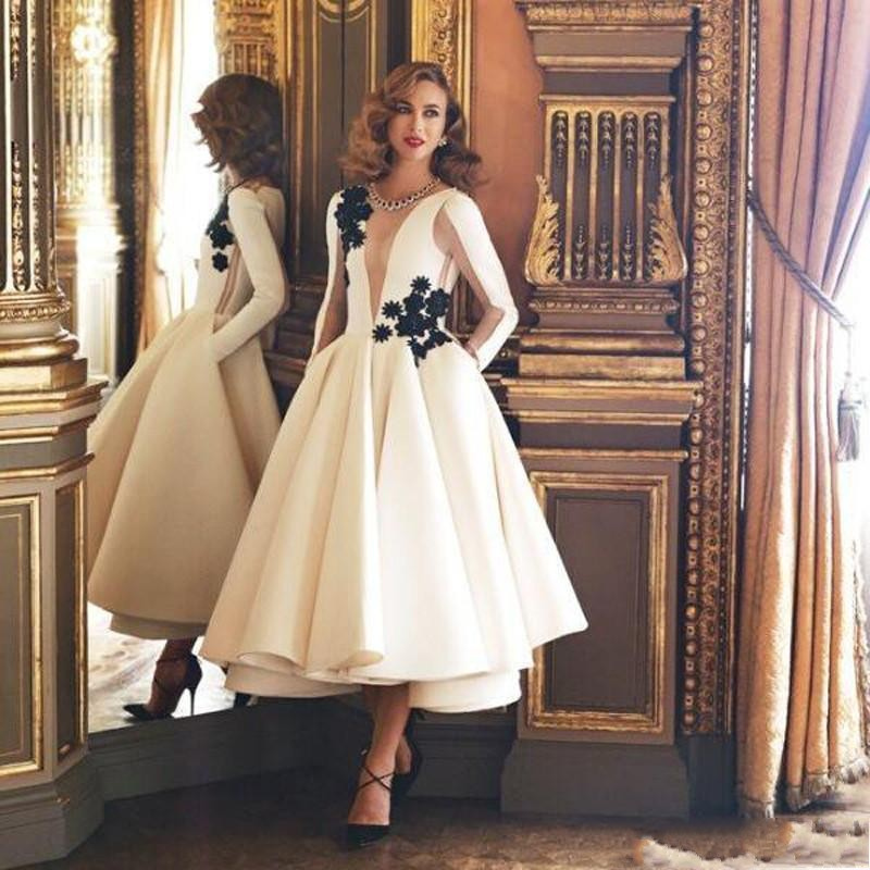Vintage Tea Length Formal Party Gowns With Full Sleeves Appliques Christmas Dress Abendkleider Saudi Arabia Prom