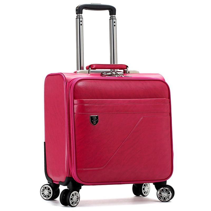 New Fashion PU suitcase trolley luggage male female universal wheels Aluminium alloy rod Trolley password box Travel Suitcase