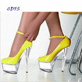 CDTS Plus:35-45 46 2016 spring/autumn Round Toe 15cm thin heels crystal platform sexy Ankle Strap shoes women wedding pumps