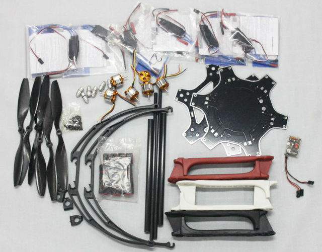 Kit FlameWheel F550 Zangão Com QQ HY Motor ESC Hélices De Fibra De Carbono + Alto Landing Skid PTZ F05114-Z