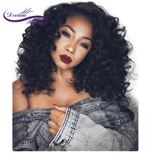 Dream Beauty 250% Density Brazilian Lace Front Human Hair Wigs Side Part Remy Hair Glueless Curly Wigs Pre Plucked Hairline(China)