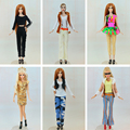 Randomly Pick Lot 20 Pcs = 10 Shoes +10 Sets Fashion Outfit Blouse Trousers Dress Shorts Pants Skirt Clothes For Barbie Doll