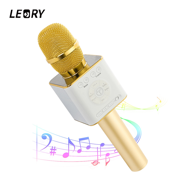 цена LEORY Bluetooth Wireless Microphone Karaoke KTV Magic Handheld Condenser Microphones Mic With Speaker For iPhone Android Tablet