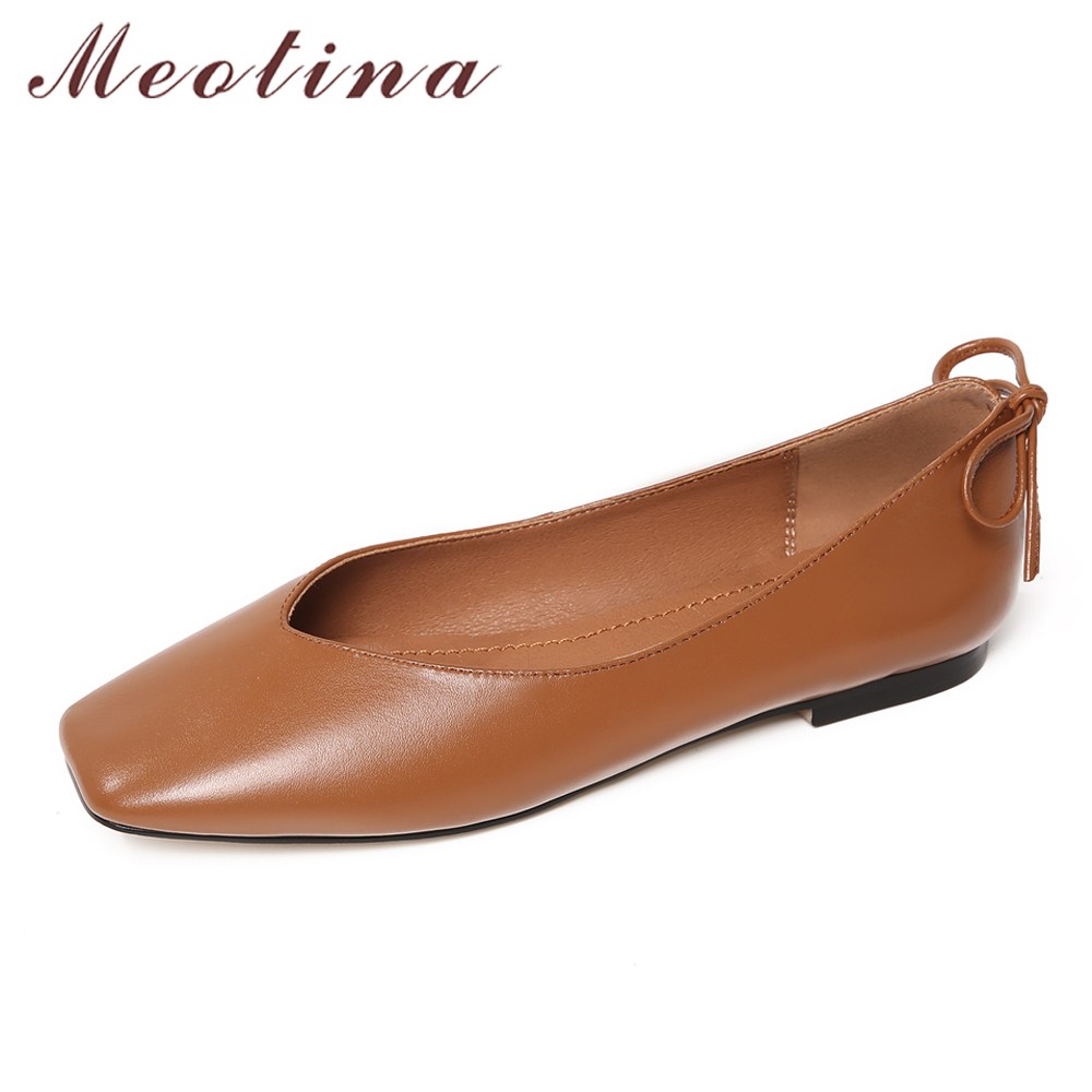 Meotina Genuine Leather Women Boat Shoes Ladies Ballet Flats Bow Slip On Women's Moccasins Flat Shoes Loafers Korean Shoes 34-40 meotina women flat shoes ankle strap flats pointed toe ballet shoes two piece ladies flats beading causal shoes beige size 34 43